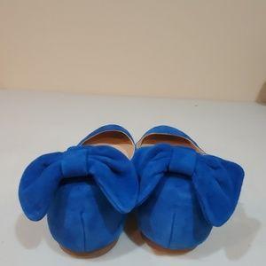 J. Crew Shoes - J. Crew Blur Suede Ankle Strap Bow Ballet Flats 7
